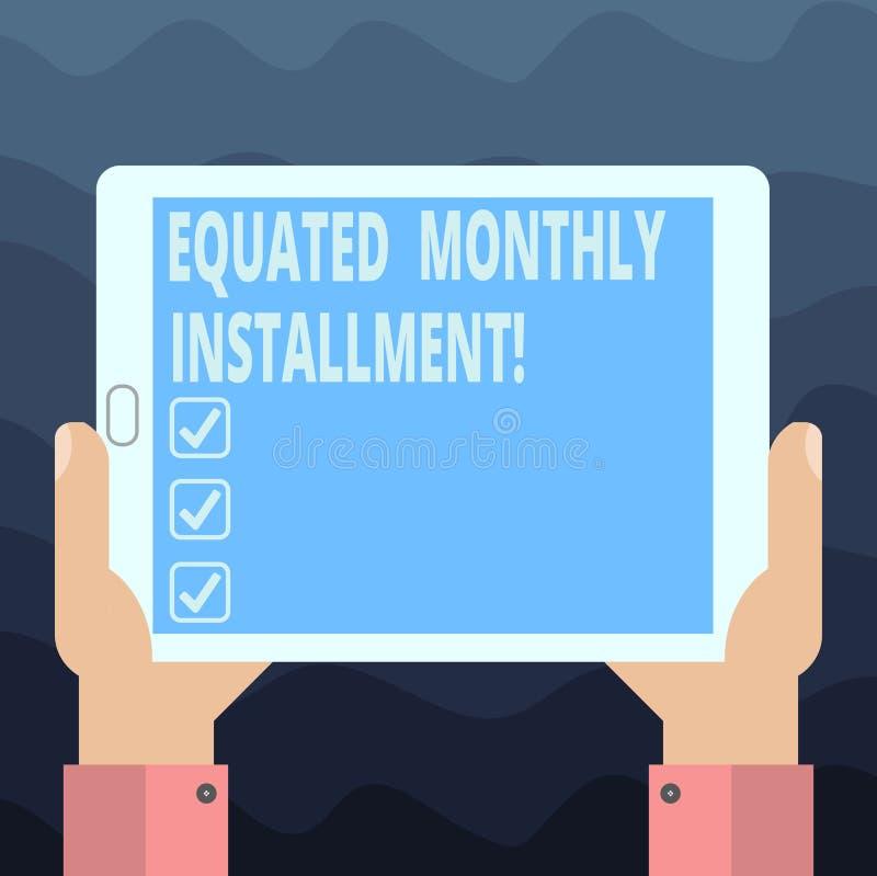 Het schrijven nota die Vergeleken Maandelijks Voorschot tonen Bedrijfsfoto die Constantamount-terugbetalings maandelijkse voorsch vector illustratie