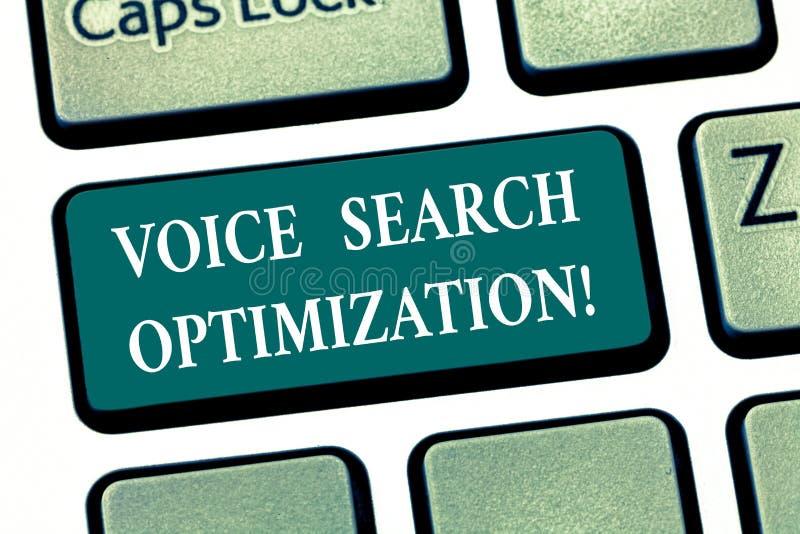 Het schrijven nota die Voice Search-Optimalisering tonen De bedrijfsfoto demonstratie verbetert Web zoekend door gesproken stock illustratie