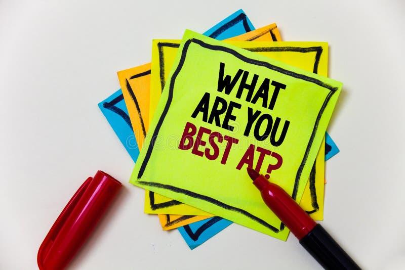 Het schrijven nota die wat tonen u Best bij Vraag zijn De bedrijfsfoto die Individuele creativiteit demonstreren is een unieke ve royalty-vrije stock fotografie