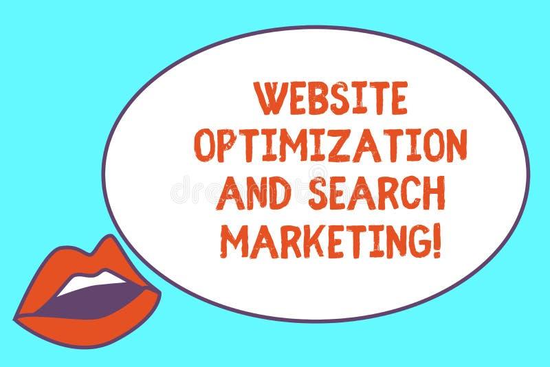 Het schrijven nota die Websiteoptimalisering en Zoeken Marketing tonen De optimalisering van de bedrijfsfoto demonstratiezoekmach vector illustratie