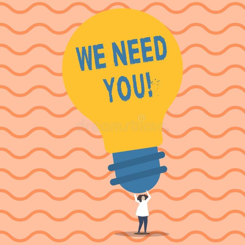 Het schrijven nota die wensen wij u tonen Bedrijfsfoto die vragend iemand om voor bepaald baan of doel samen te werken demonstree vector illustratie