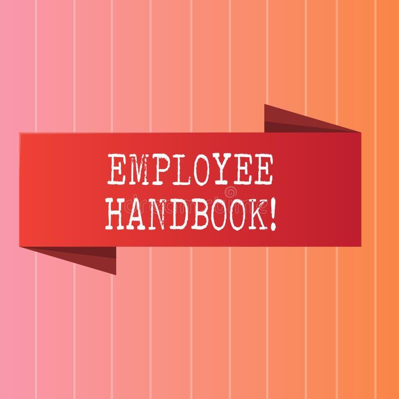 Het schrijven nota die Werknemershandboek tonen De Verordeningen van het bedrijfsfoto demonstratiedocument het Handbeleid van de  stock illustratie