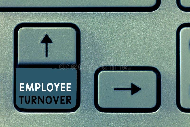 Het schrijven nota die Werknemersomzet tonen Bedrijfsfoto demonstratieaantal of percentage arbeiders die een organisatie verlaten stock illustratie