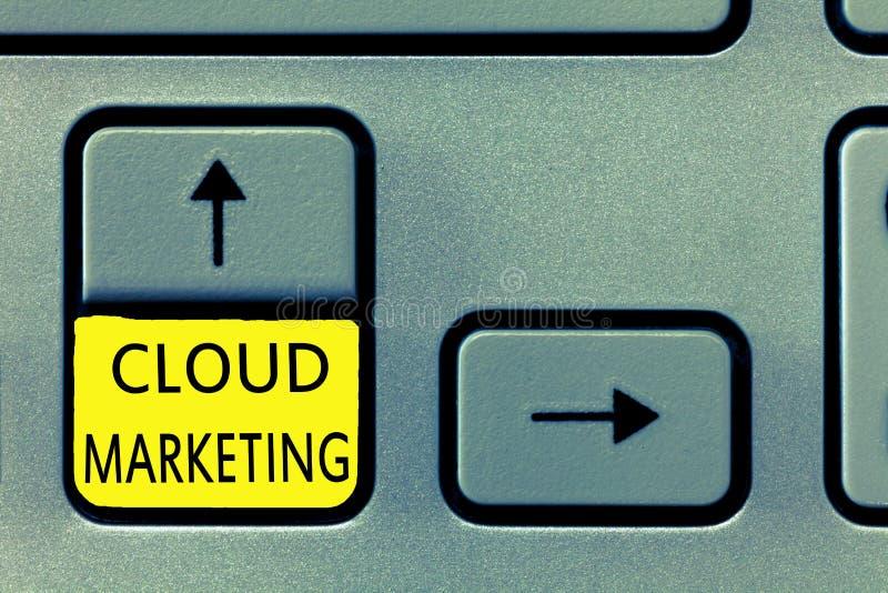 Het schrijven nota die Wolk Marketing tonen Bedrijfsfoto die het proces van een organisatie demonstreren om hun diensten op de ma vector illustratie