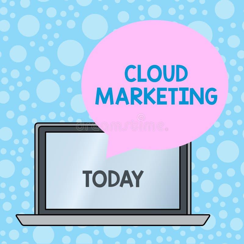 Het schrijven nota die Wolk Marketing tonen Bedrijfsfoto die het proces van een organisatie demonstreren om hun diensten op de ma stock illustratie