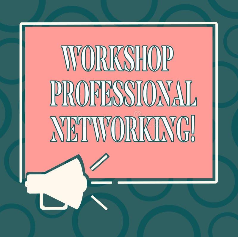 Het schrijven nota die Workshop Professioneel Voorzien van een netwerk tonen Bedrijfsfoto demonstratieactiviteiten om de verbindi vector illustratie