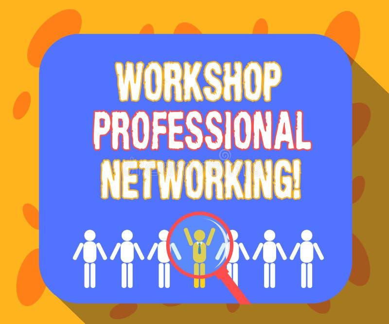 Het schrijven nota die Workshop Professioneel Voorzien van een netwerk tonen Bedrijfsfoto demonstratieactiviteiten om verbindinge vector illustratie