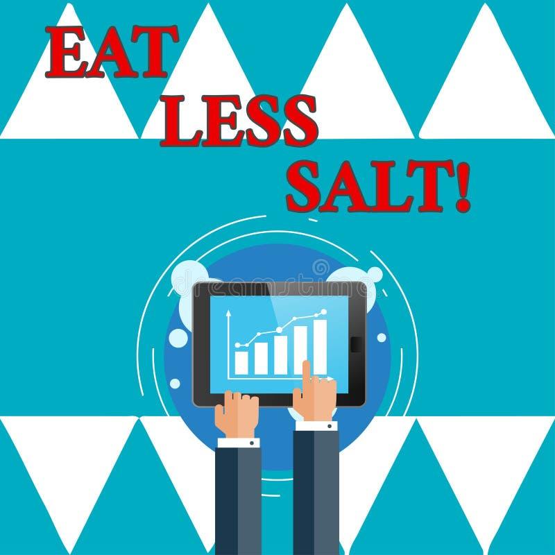 Het schrijven nota showingEat Minder Zout De bedrijfsfoto demonstratie vermindert de hoeveelheid natrium in uw dieet gezond eten royalty-vrije illustratie