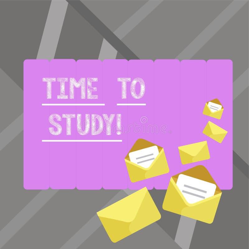 Het schrijven nota showingTime aan Studie De bedrijfsfoto demonstratieexamens vergen vooruit concentraat in studies leren de les stock illustratie