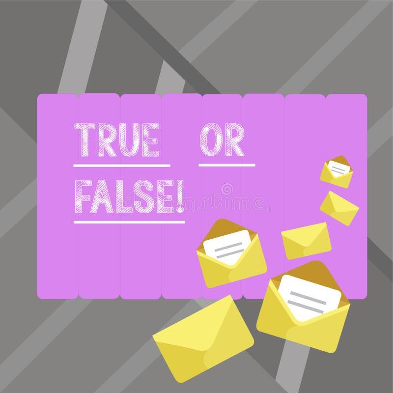 Het schrijven nota showingTrue of Vals De bedrijfsfoto demonstratie beslist tussen een feit of het vertellen van een verwarring v royalty-vrije illustratie