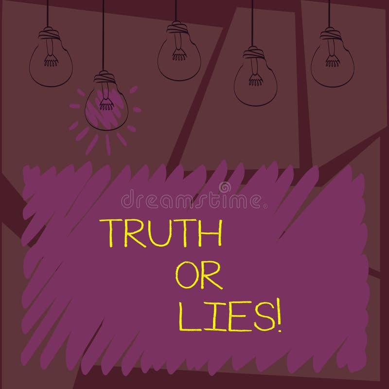 Het schrijven nota showingTruth of Leugens De bedrijfsfoto demonstratie beslist tussen een feit of het vertellen van een verwarri royalty-vrije illustratie