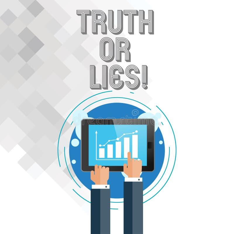 Het schrijven nota showingTruth of Leugens De bedrijfsfoto demonstratie beslist tussen een feit of het vertellen van een verwarri vector illustratie