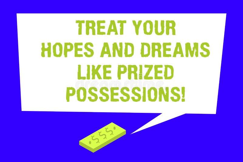 Het schrijven nota het tonen behandelt Uw Hoop en Dromen zoals Gewaardeerd Bezit Bedrijfsfoto demonstratiewaarde uw wensen vector illustratie