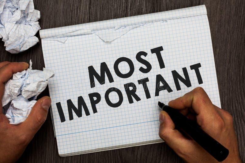 Het schrijven nota tonen het Belangrijkst De hoeveelheid van de bedrijfsfoto demonstratie Grootste of hoogste graad of van de der royalty-vrije stock foto's