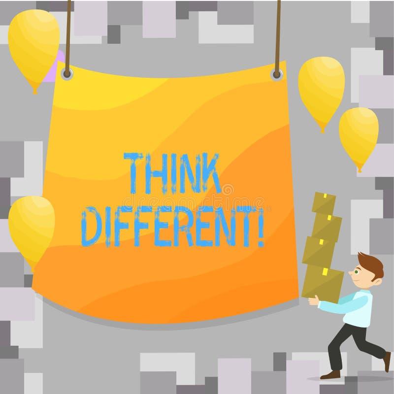 Het schrijven nota tonen denkt Verschillend De bedrijfsfoto demonstratie heroverweegt Verandering op visie verwerft Nieuwe Ideeën vector illustratie