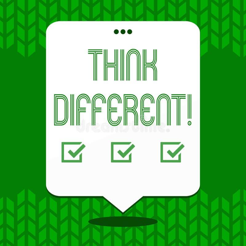 Het schrijven nota tonen denkt Verschillend De bedrijfsfoto demonstratie heroverweegt Verandering op visie verwerft Nieuwe Ideeën royalty-vrije illustratie