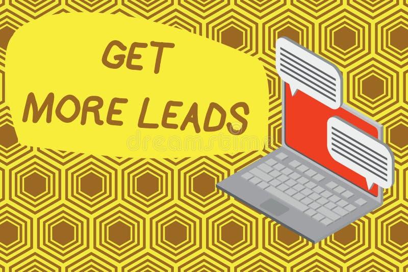 Het schrijven nota het tonen krijgt Meer Lood Bedrijfsfoto demonstratie om meer klanten te hebben en uw doelverkoop te verbeteren stock illustratie