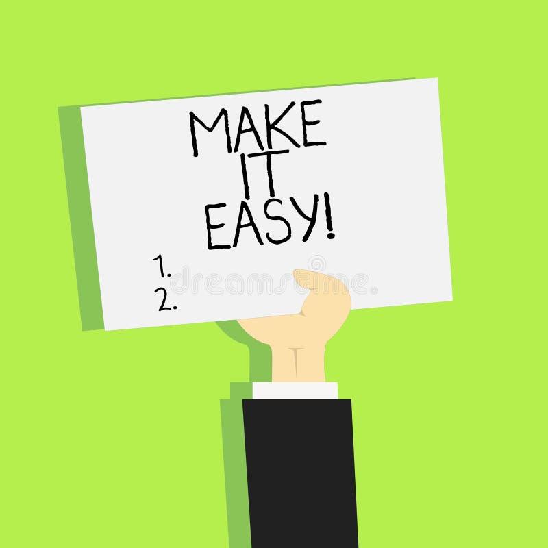 Het schrijven nota het tonen maakt het Gemakkelijk Bedrijfsfoto die Slimme benaderings Moeiteloze Vrij van zorgen of moeilijkhede stock illustratie