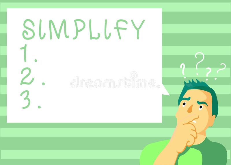 Het schrijven nota het tonen vereenvoudigt De bedrijfsfoto demonstratie maakt iets eenvoudiger of gemakkelijker te doen of te beg vector illustratie