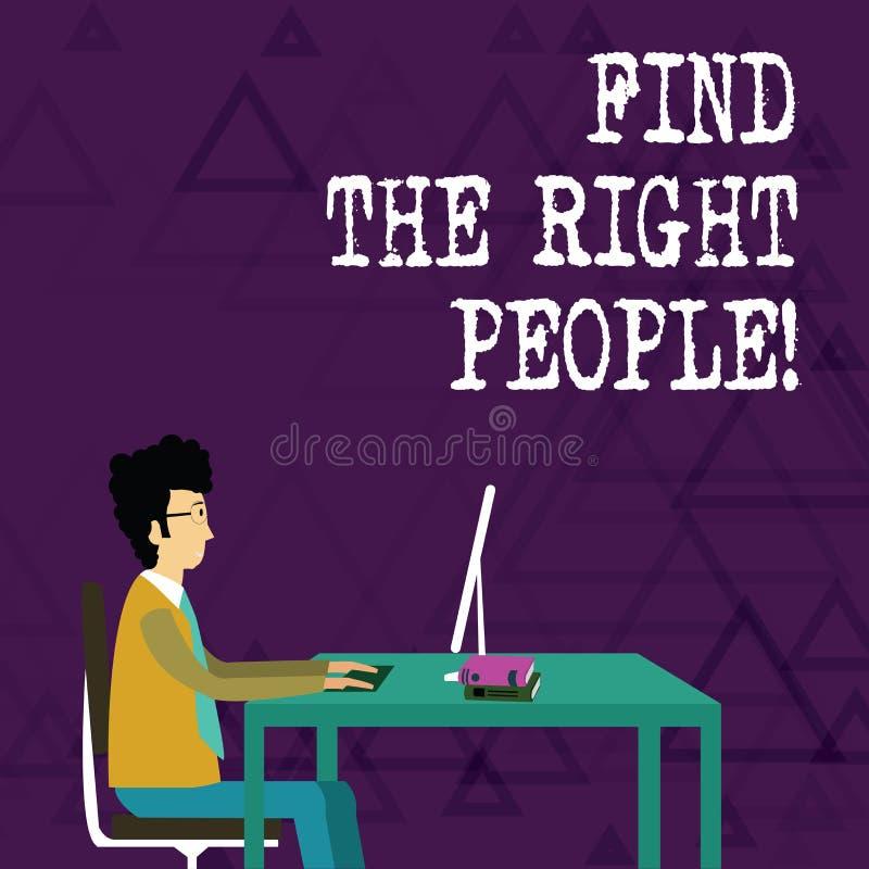 Het schrijven nota het tonen vindt de Juiste Mensen Bedrijfsfoto die kiezend perfecte kandidaat voor baan of positie demonstreren vector illustratie