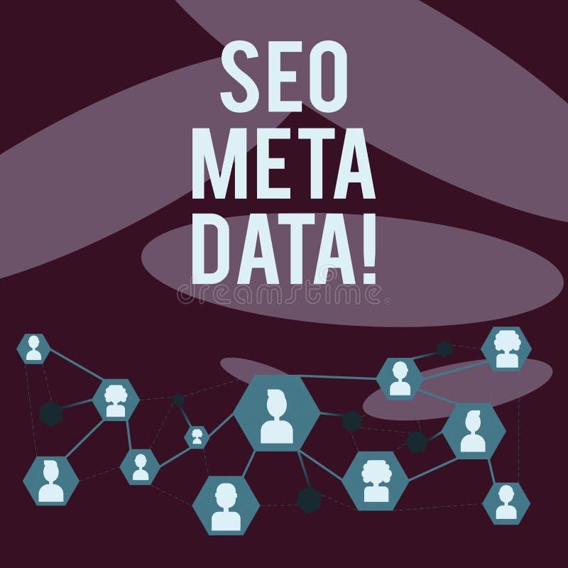 Het schrijven notashowingseo Meta - gegevens De Optimalisering van de bedrijfsfoto demonstratiezoekmachine Online marketing strat stock illustratie