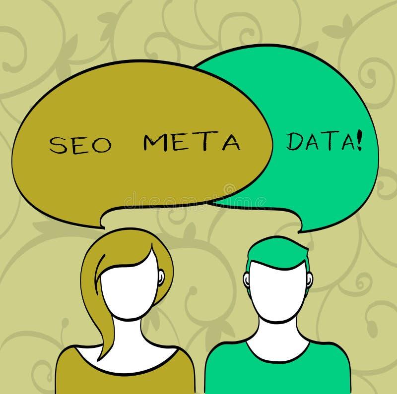 Het schrijven notashowingseo Meta - gegevens De Optimalisering van de bedrijfsfoto demonstratiezoekmachine Online marketing strat vector illustratie