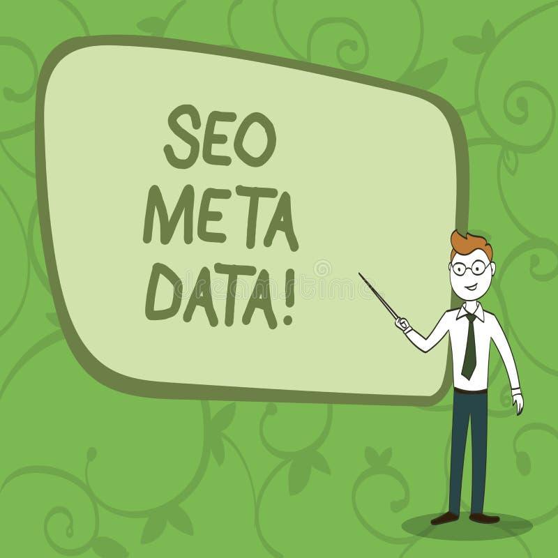 Het schrijven notashowingseo Meta - gegevens De Optimalisering van de bedrijfsfoto demonstratiezoekmachine Online marketing strat royalty-vrije illustratie