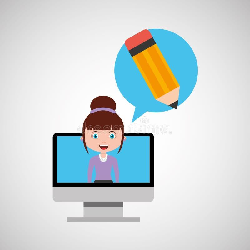 Het schrijven onderwijs online ontwerpmeisje vector illustratie