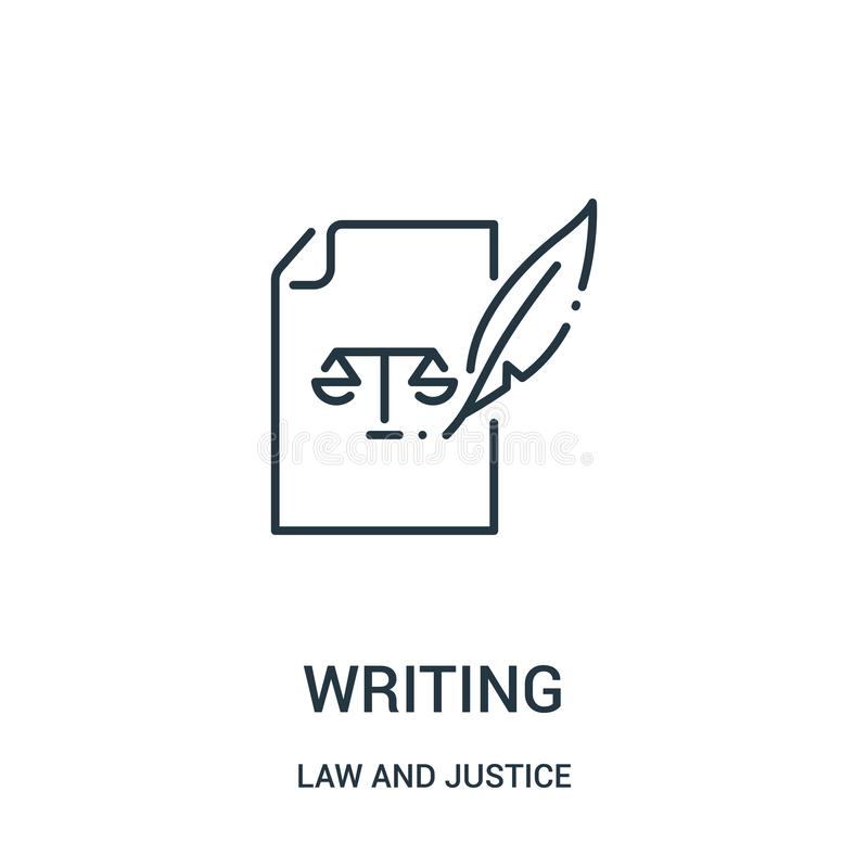 het schrijven pictogramvector van wet en rechtvaardigheidsinzameling Dun lijn het schrijven overzichtspictogram vectorillustratie stock illustratie