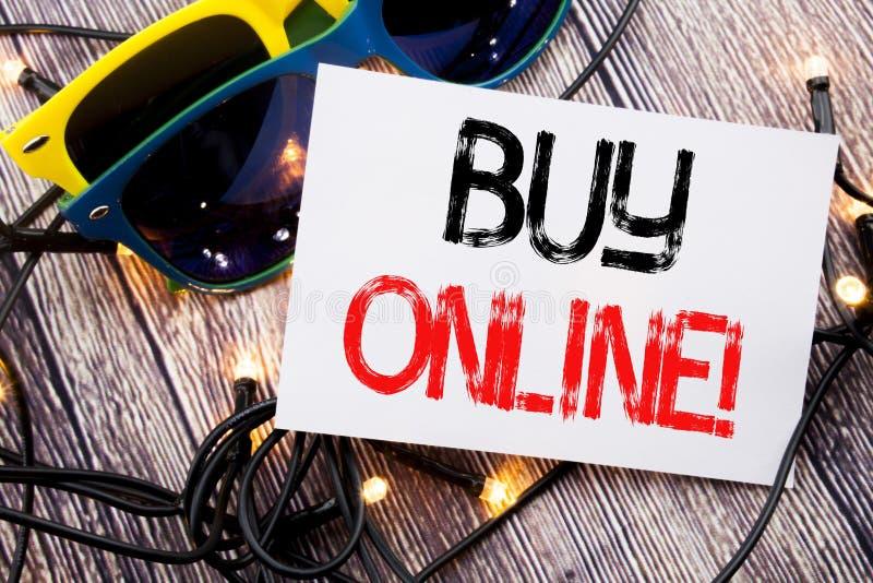 Het schrijven tekst het tonen koopt online Bedrijfsdieconcept voor de Aankoop van de Elektronische handelverkoop op kleverige not royalty-vrije stock afbeelding