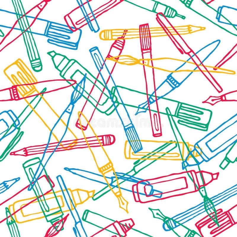 Het schrijven van de achtergrond instrumententextuur patroon stock illustratie