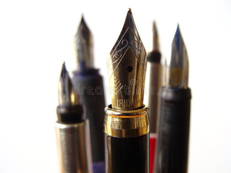 Het Schrijven van de fontein Pennen stock foto