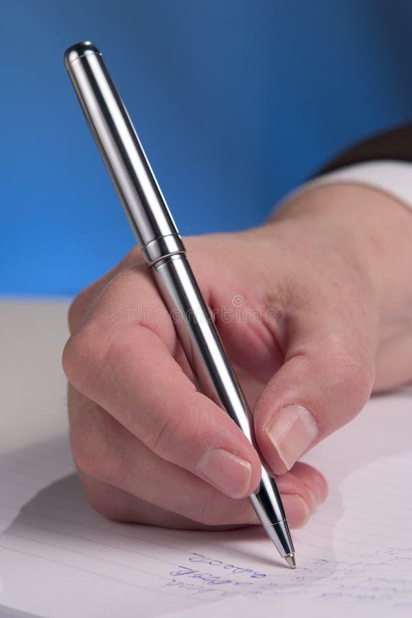Het schrijven van de hand stock fotografie