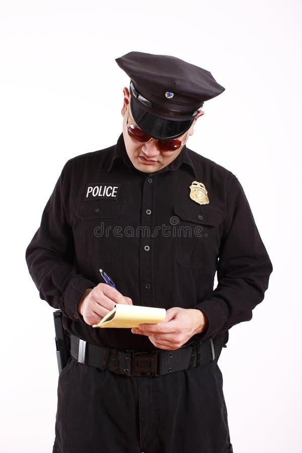 Het schrijven van de politieman citaat royalty-vrije stock foto's