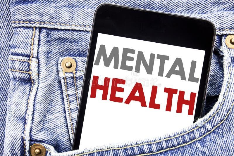 Het schrijven van tekst die Geestelijke Gezondheid tonen Bedrijfsdieconcept voor de Wanorde van de Bezorgdheidsziekte op smartpho stock afbeeldingen