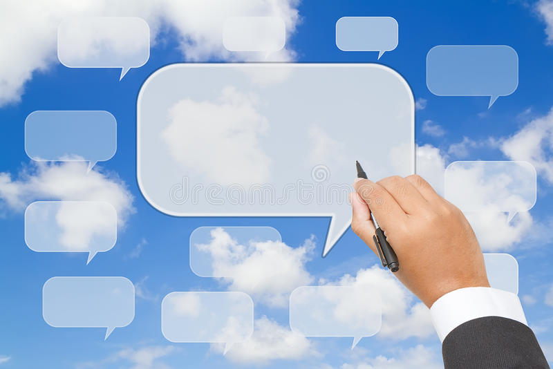 het schrijven van tekstballon op blauwe hemel royalty-vrije stock afbeeldingen