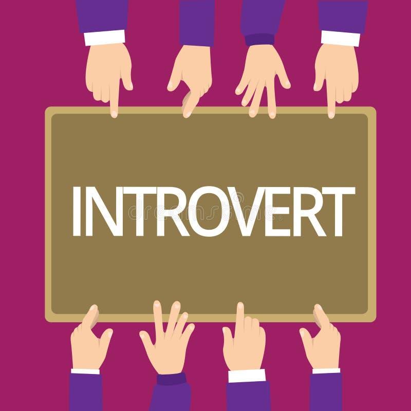 Het schrijvende Introvert van de handschrifttekst De conceptenbetekenis neigt te zijn het binnenkomende draaien of concentreerde  royalty-vrije illustratie
