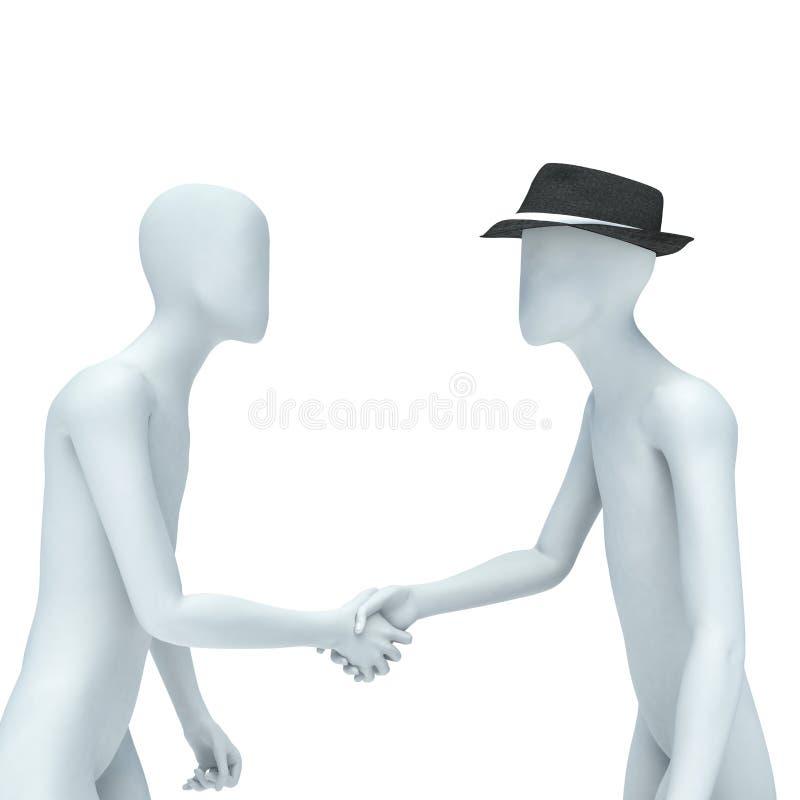 Het schudden de handen/Twee 3d mensen schudden handen stock illustratie