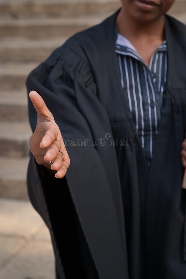 Het schudden van de advocaat handen stock afbeelding