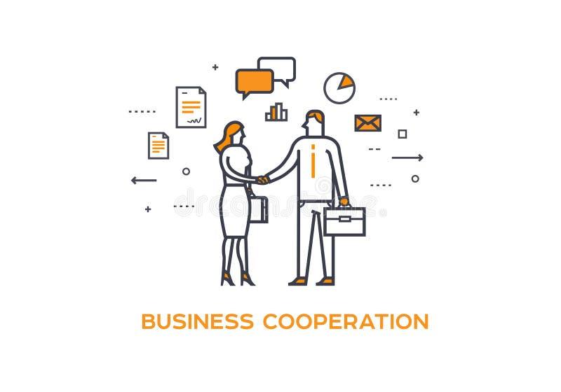 Het schudden van de zakenman en van de onderneemster handen Samenwerkingsinteractie illustratiesucces, Samenwerking, Investeringe vector illustratie