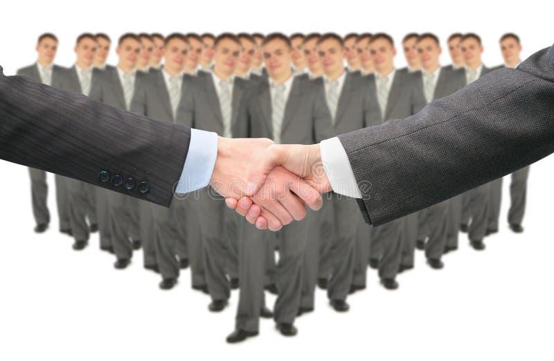 Het schudden van handen en grote commerciële groepscollage stock foto