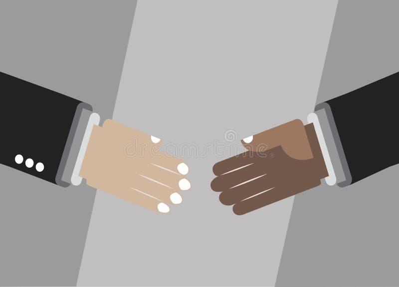 Het schudden van handen voor overeenkomst, vriendschap, vennootschap vector illustratie