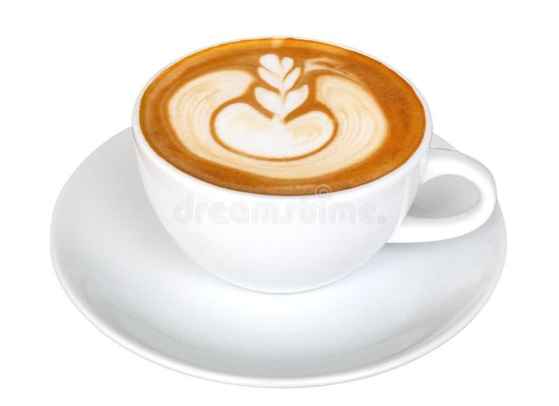 Het schuim van de de bloemvorm van de koffie latte kunst, hete die cappuccino op witte achtergrond, het knippen weg wordt ge?sole stock foto's