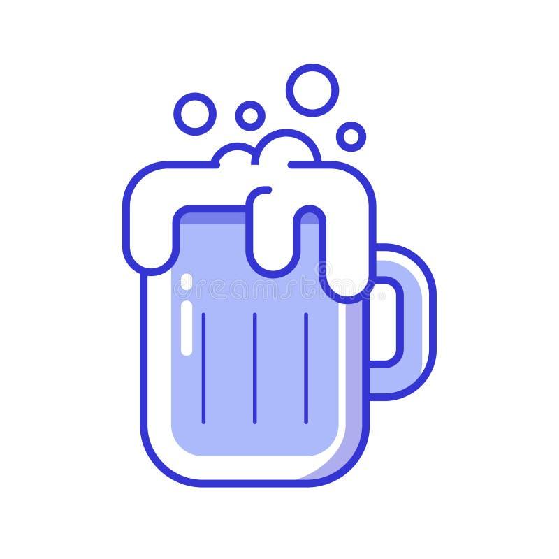Het schuimende pictogram van het bierglas stock illustratie