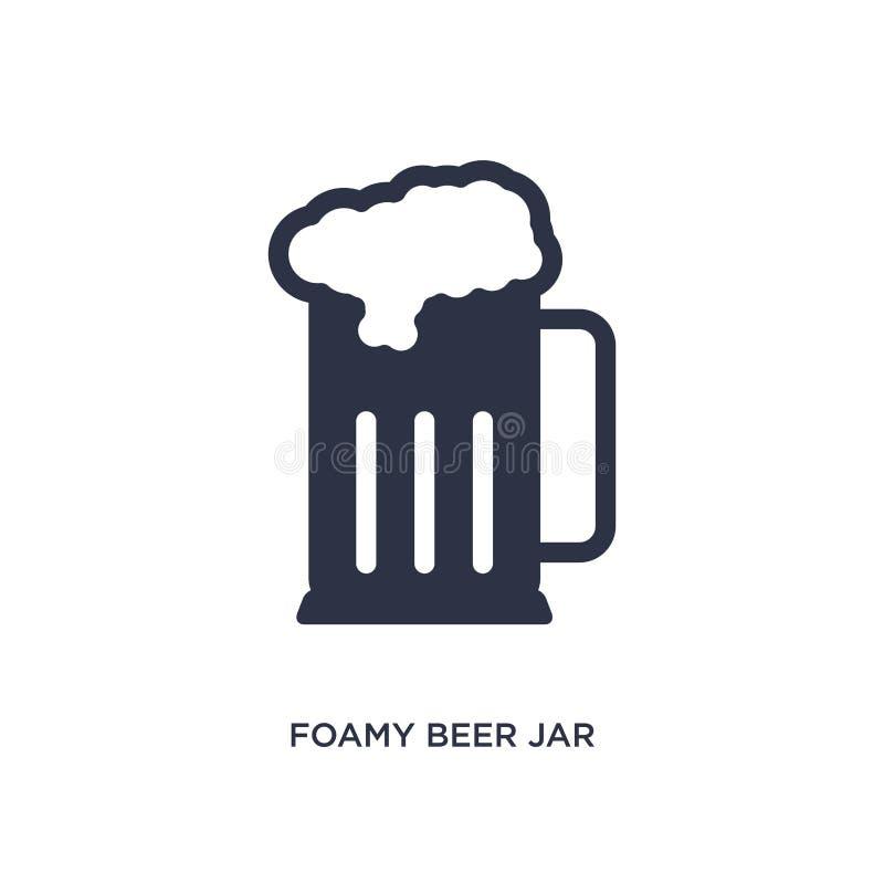het schuimende pictogram van de bierkruik op witte achtergrond Eenvoudige elementenillustratie van bistro en restaurantconcept vector illustratie