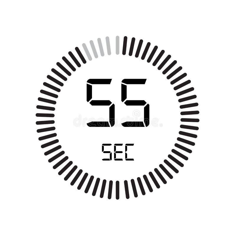 Het 55 secondenpictogram, digitale tijdopnemer klok en horloge, tijdopnemer, coun vector illustratie