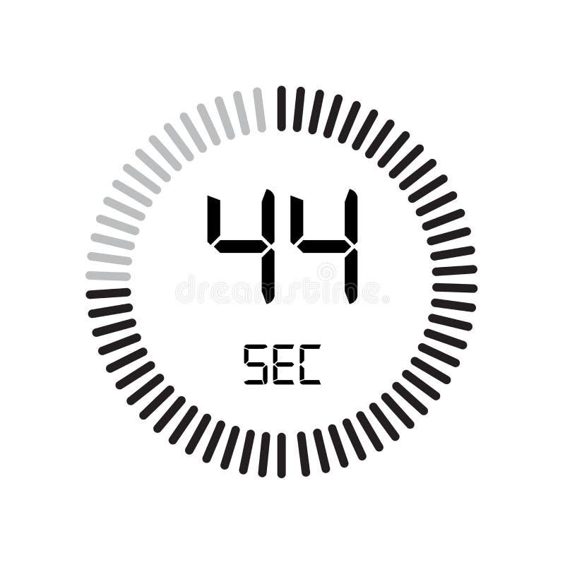 Het 44 secondenpictogram, digitale tijdopnemer klok en horloge, tijdopnemer, coun stock illustratie