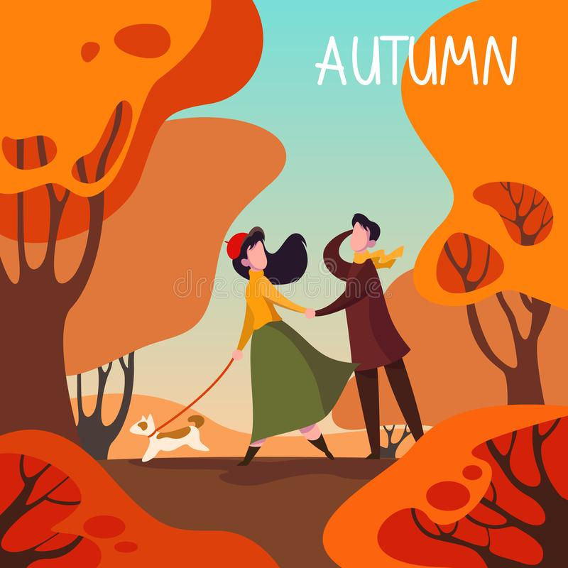 Het seizoen van de herfst Weg in dalingsbos Mooi paar die een hond lopen royalty-vrije illustratie