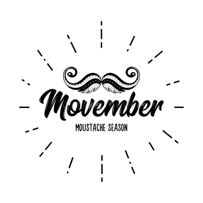 Het seizoen vectorsnor van de Movembersnor het van letters voorzien kanker vector illustratie