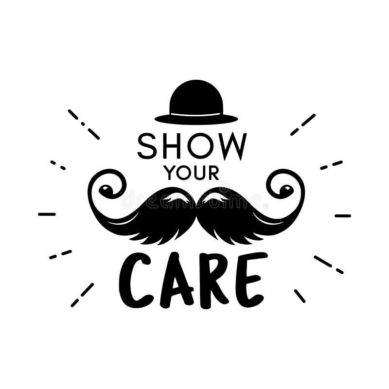 Het seizoen vectorsnor van de Movembersnor het van letters voorzien kanker stock illustratie